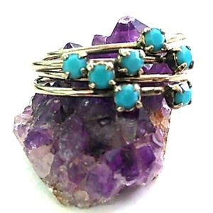 RARE AUSTRIA Cornflower Blue Crystal 4-Layer Ring